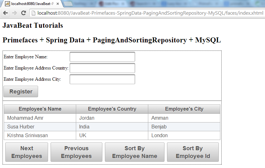 PagingAndSortingRepository - Sorting By Employee Id