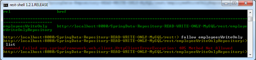 Read Employees By Using WriteOnly Repository - REST SHELL