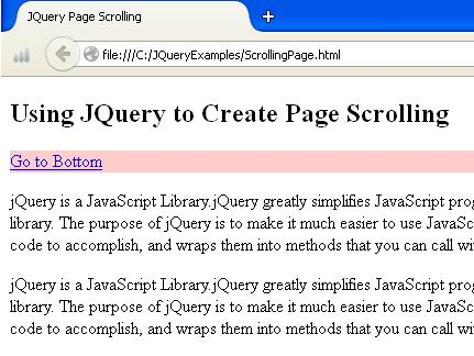 JQuery Scroll Page Example