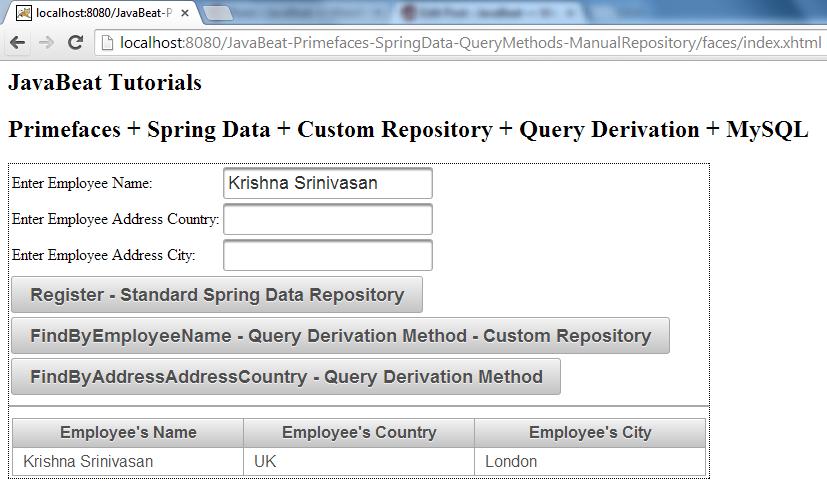 Spring Data - Custom Repository - Query Derivation - Demo II