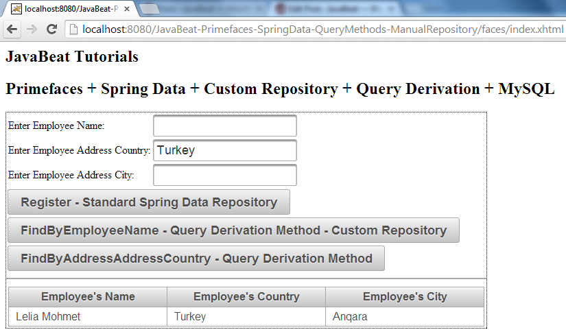 Spring Data - Custom Repository - Query Derivation - Demo III