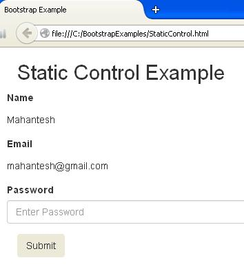 Bootstrap Static Control Picture