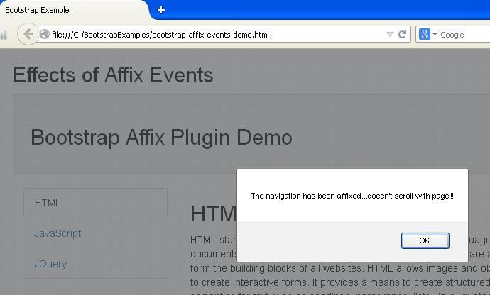 Bootstrap Affix using Events Example