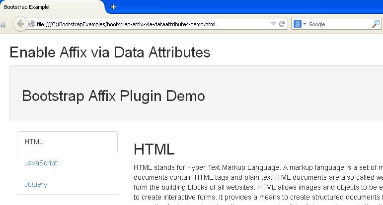 Bootstrap Affix via Data Attributes Example