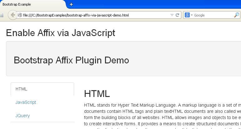 Bootstrap Affix via JavaScript Example