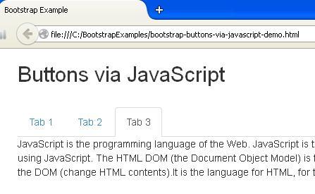 Bootstrap Button via JavaScript Example