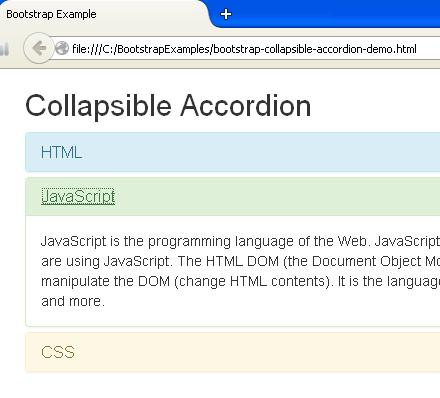 Bootstrap Collapsible Accordion Example