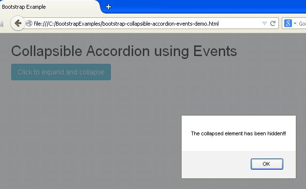 Bootstrap Collapsible Accordion using Events Example