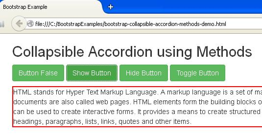 Bootstrap Collapsible Accordion using Methods Example