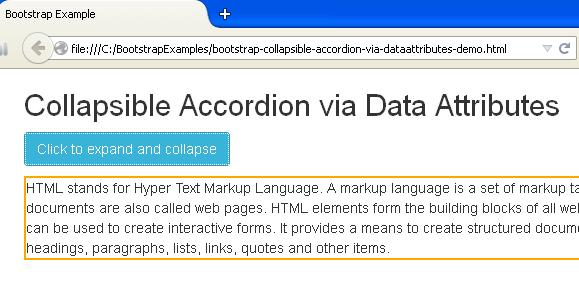 Bootstrap Collapsible Accordion via Data Attributes Example