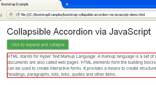 Bootstrap Collapsible Accordion via JavaScript Example