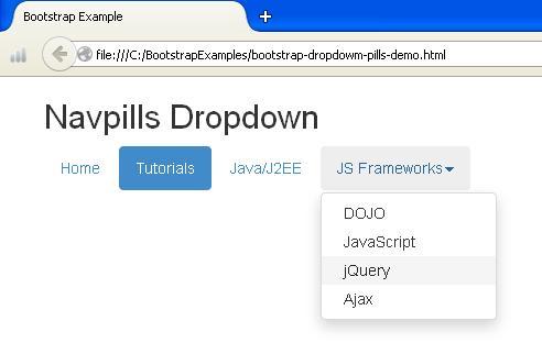 Bootstrap Navpills Dropdown Example