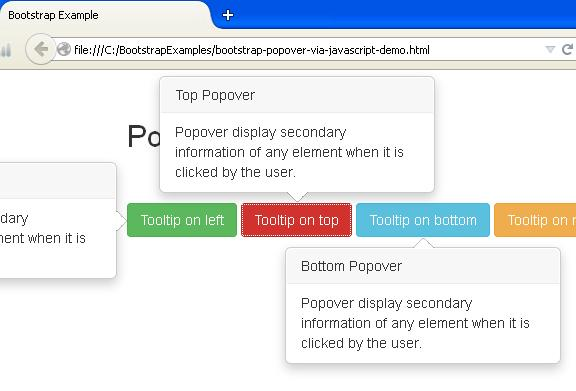 Bootstrap Popover via JavaScript Example