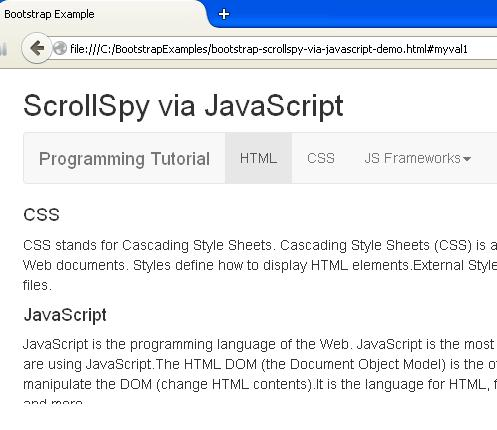 Bootstrap Scrollspy via JavaScript Example