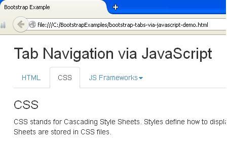 Bootstrap Tabs via JavaScript Example