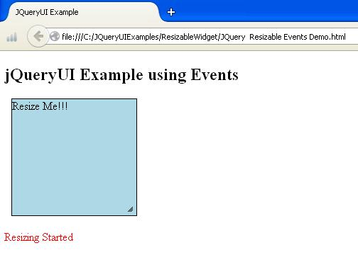 JQueryUI Resizable Events Example