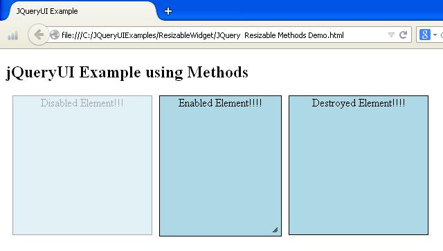 JQueryUI Resizable Methods Example
