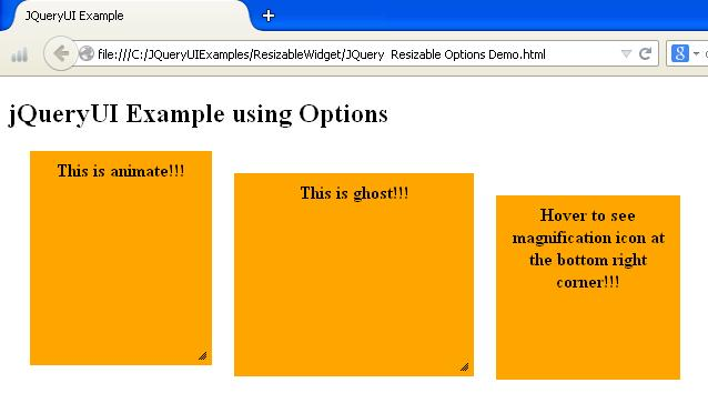 JQueryUI Resizable Options Example