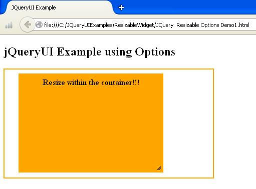 JQueryUI Resizable Options Example1