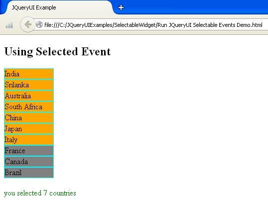 JQueryUI Selectable Widget Example