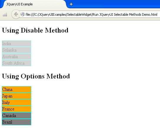 JQueryUI Selectable Methods Example