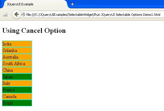 JQueryUI Selectable Options Example1