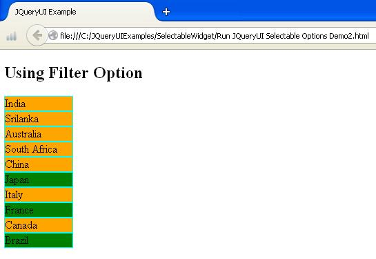 JQueryUI Selectable Options Example2