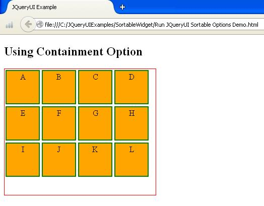JQueryUI Sortable Options Example