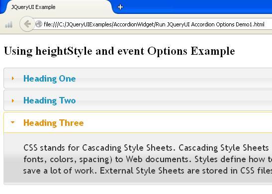JQueyUI Accordion Options Example1
