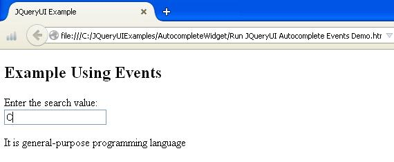 JQueryUI Autocomplete Events Example