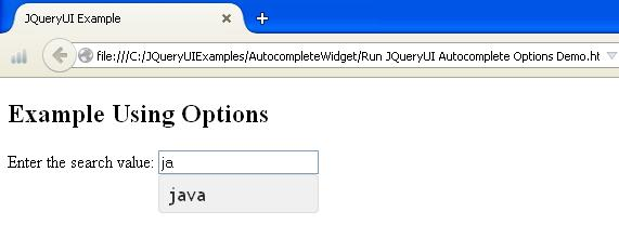 JQueryUI Autocomplete Options Example