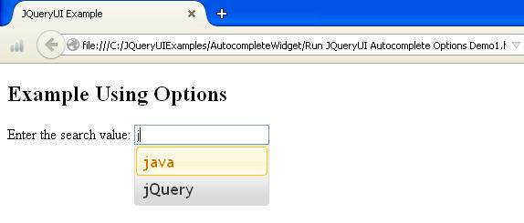 JQueryUI Autocomplete Options Example1
