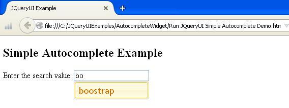 JQueryUI Simple Autocomplete Example