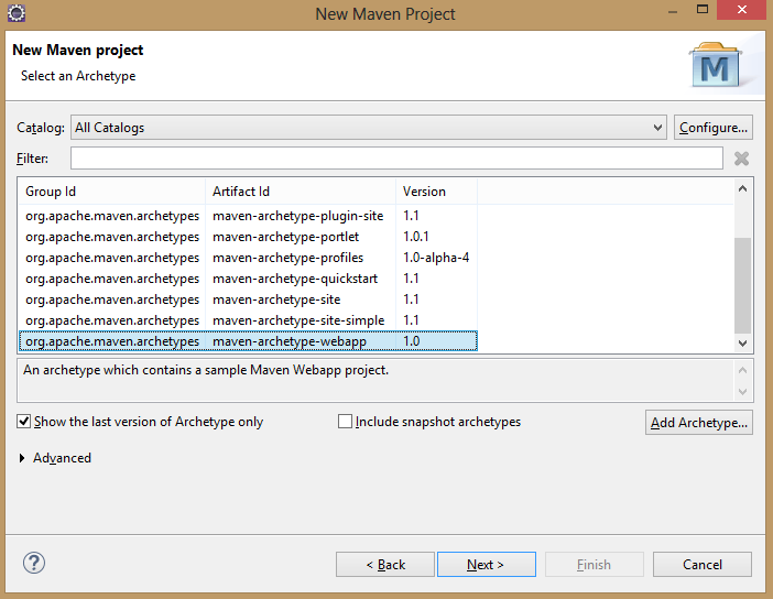 Select Archetype in Maven