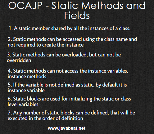 OCAJP Static Methods and Fields