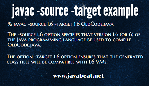 Javac Source and Target Example