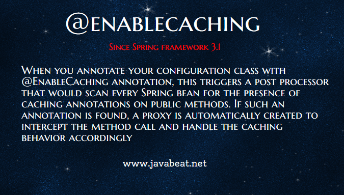 @EnableCaching in Spring Framework