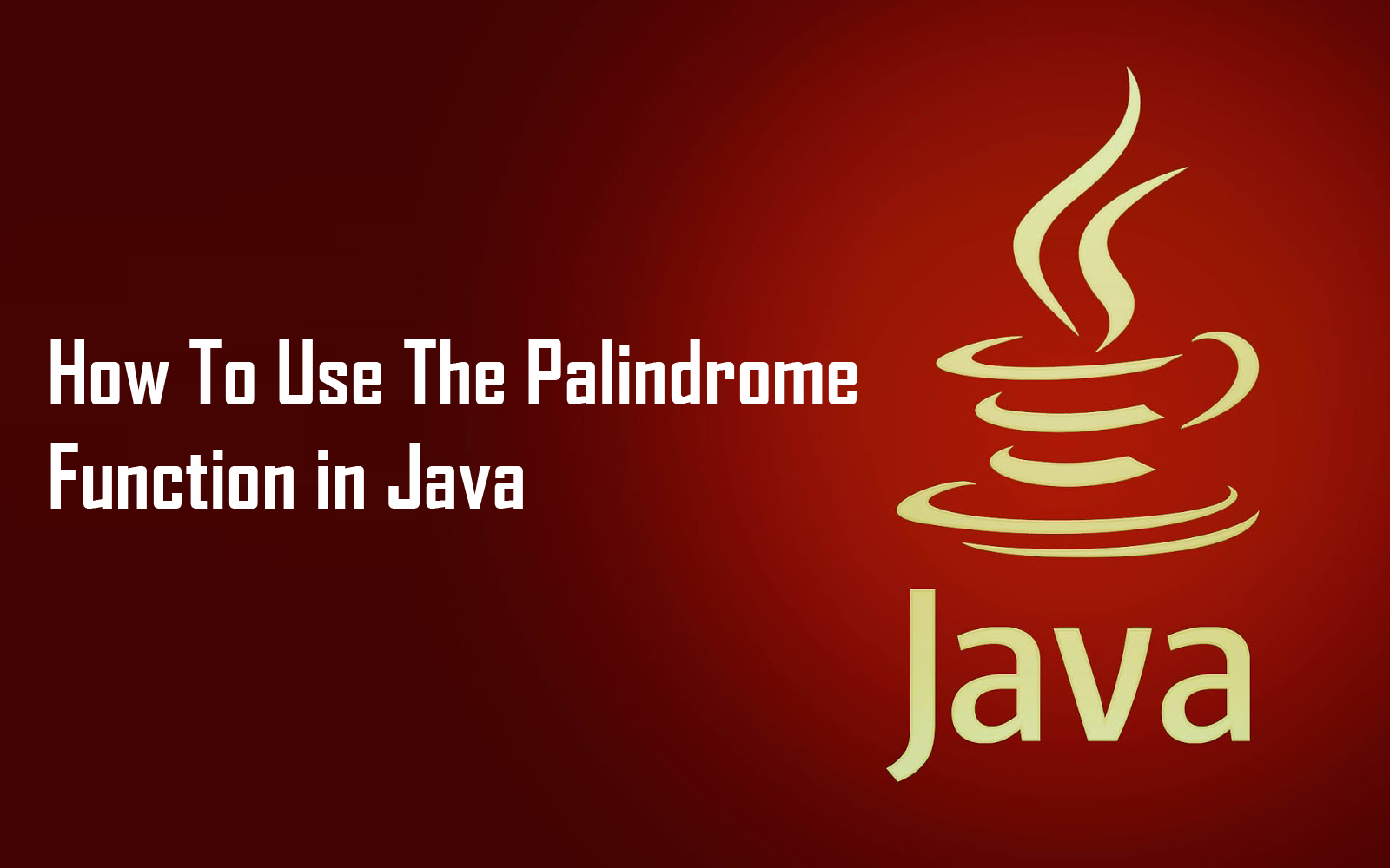 How To Use The Palindrome Function in Java