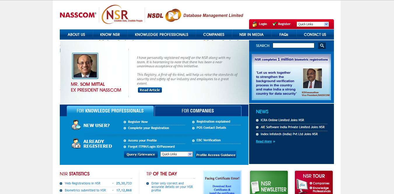 National Skills Registry Website